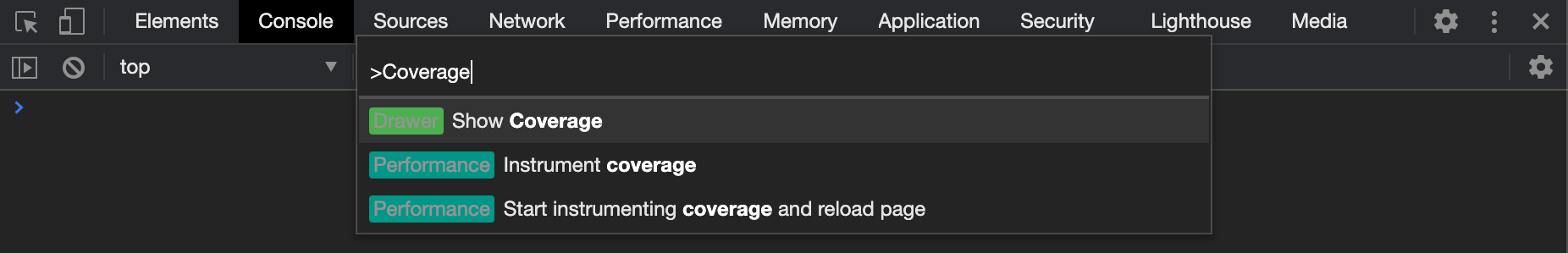 Coverage Drawer Command